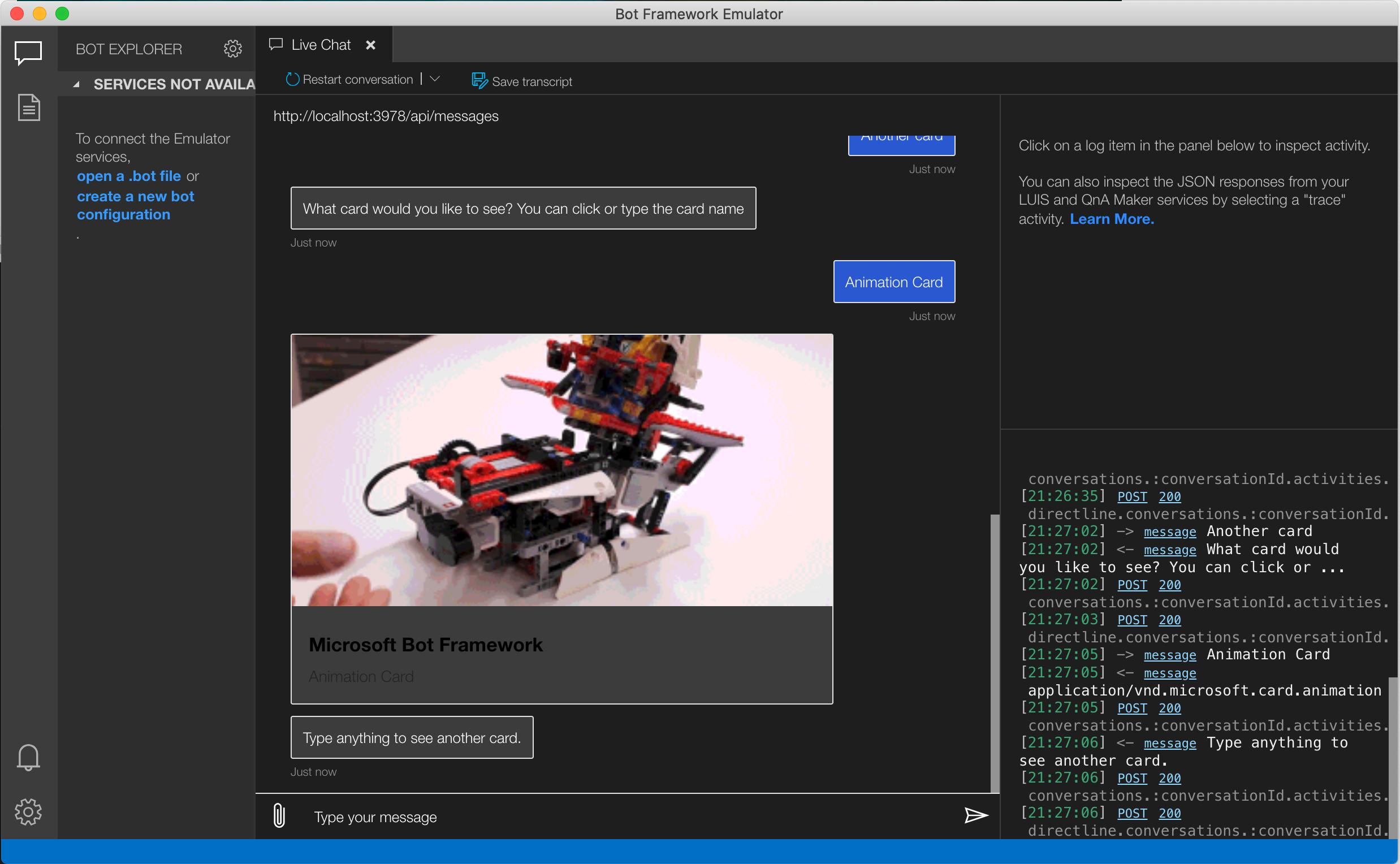 sample project in bot emulator